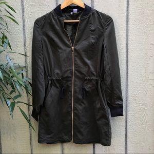 H&M faux suede dark olive green lightweight jacket